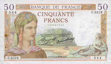 3.12.1936 BANKNOTEN DER BANQUE DE FRANCE Banque de France. Billet. 50 francs Cérès, 3.12.1936 Taches de rouille et trou d'épingle sinon vz