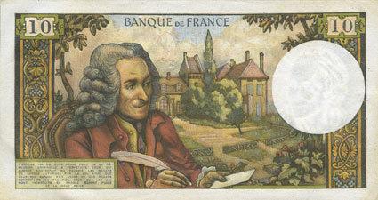 6.4.1967 BANKNOTEN DER BANQUE DE FRANCE Banque de France. Billet. 10 francs, Voltaire, 6.4.1967 Léger jaunissement / bord gauche sinon vz