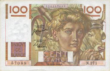 1950-10-12 BANKNOTEN DER BANQUE DE FRANCE Banque de France. Billet. 100 francs jeune paysan, 12.10.1950 vz
