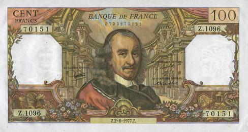 2.6.1977 BANKNOTEN DER BANQUE DE FRANCE Banque de France. Billet. 100 francs, Corneille, 2.6.1977 vz