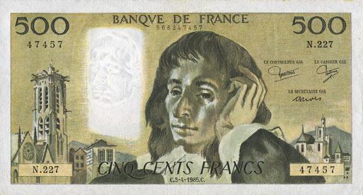 3.4.1985 BANKNOTEN DER BANQUE DE FRANCE Banque de France. Billet. 500 francs Pascal 3.4.1985 vz