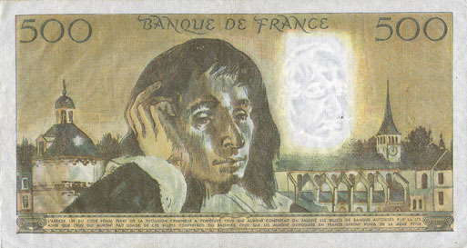 3.1.1985 BANKNOTEN DER BANQUE DE FRANCE Banque de France. Billet. 500 francs (Pascal) 3.1.1985 vz
