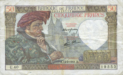 13.2.1941 BANKNOTEN DER BANQUE DE FRANCE Banque de France. Billet. 50 francs Jacques Coeur, 13.2.1941 Très petite tache, ss