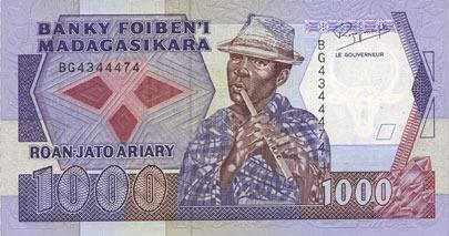 1988 ANDERE AUSLÄNDISCHE SCHEINE Madagascar. Billet. 1 000 francs / 200 ariary (1988) I