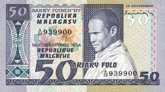 ANDERE AUSLÄNDISCHE SCHEINE Madagascar. Billet. 50 francs / 10 ariary I