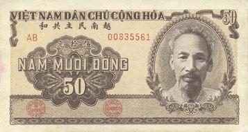 1951 ANDERE AUSLÄNDISCHE SCHEINE Vietnam. Banque Nationale du Vietnam - Ngân Hàng Quôc Gia Viêt Nam. Billet. 50 dong (1951) vz+