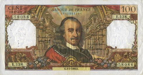 3.2.1966 BANKNOTEN DER BANQUE DE FRANCE Banque de France. Billet. 100 francs, Corneille, 3.2.1966 Très légère tache, ss