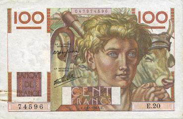 7.11.1945 BANKNOTEN DER BANQUE DE FRANCE Banque de France. Billet. 100 francs jeune paysan, 7.11.1945 Tache de rouille (trombone) sinon ss+