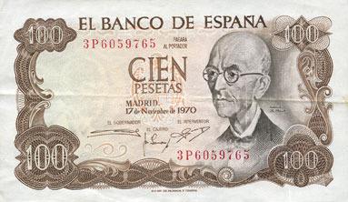 1970-11-17 ANDERE AUSLÄNDISCHE SCHEINE Espagne. Billet. 100 pesetas 17.11.1970 (1974) ss-vz