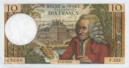 5.2.1970 BANKNOTEN DER BANQUE DE FRANCE Banque de France. Billet. 10 francs, Voltaire, 5.2.1970 vz+