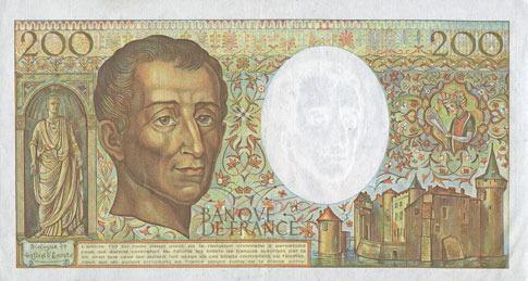 1989 BANKNOTEN DER BANQUE DE FRANCE Banque de France. Billet. 200 francs (Montesquieu), 1989 vz