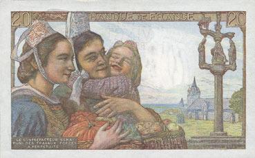 10.3.1949 BANKNOTEN DER BANQUE DE FRANCE Banque de France. Billet. 20 francs pêcheur, 10.3.1949 I