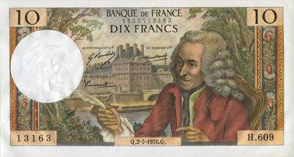 2.7.1970 BANKNOTEN DER BANQUE DE FRANCE Banque de France. Billet. 10 francs, Voltaire, 2.7.1970 Trous d'épingle marqués sinon vz+