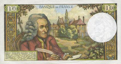 4.2.1971 BANKNOTEN DER BANQUE DE FRANCE Banque de France. Billet. 10 francs, Voltaire, 4.2.1971 vz+
