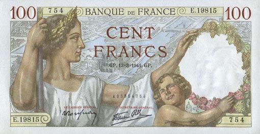 13.3.1941 BANKNOTEN DER BANQUE DE FRANCE Banque de France. Billet. 100 francs Sully, 13.3.1941 vz+