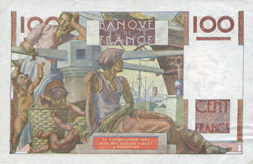 7.11.1945 BANKNOTEN DER BANQUE DE FRANCE Banque de France. Billet. 100 francs jeune paysan, 7.11.1945 vz+