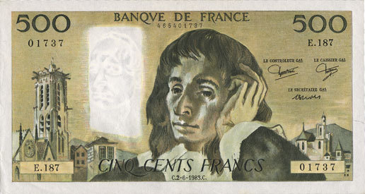 2.6.1983 BANKNOTEN DER BANQUE DE FRANCE Banque de France. Billet. 500 francs (Pascal) 2.6.1983 vz
