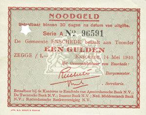 14.5.1940 ANDERE AUSLÄNDISCHE SCHEINE Pays Bas. Commune (Gemeente) Enschede. Billet. 1 gulden 14.5.1940 Annulé par perforation en étoile sinon vz+