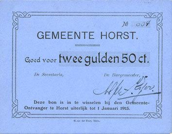 1.1.1915 ANDERE AUSLÄNDISCHE SCHEINE Pays Bas. Commune (Gemeente) d'Horst. 2 1/2 gulden. 1.1.1915 vz