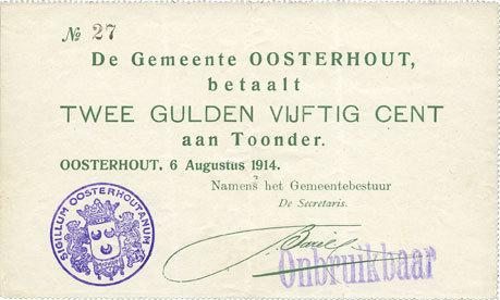 1914 ANDERE AUSLÄNDISCHE SCHEINE Pays Bas. Commune (Gemeente) Oosterhout. 2 1/2 gulden 1914 Trace d'épinglage sinon vz