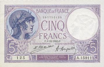 1.12.1923 BANKNOTEN DER BANQUE DE FRANCE Banque de France. Billet. 5 francs violet, 1.12.1923 vz+