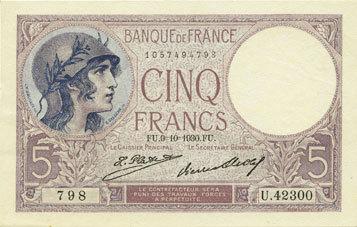 9.10.1930 BANKNOTEN DER BANQUE DE FRANCE Banque de France. Billet. 5 francs violet, 9.10.1930 Un épinglage et une infime tache de rousseur sinon vz+