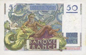 29.6.1950 BANKNOTEN DER BANQUE DE FRANCE Banque de France. Billet. 50 francs Le Verrier, 29.6.1950 Très petite trace de rouille et petites jaunissures sinon vz