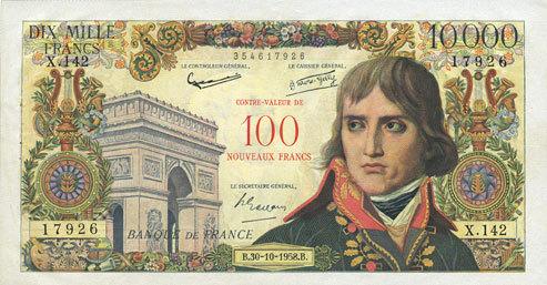 1958-10-30 BANKNOTEN DER BANQUE DE FRANCE Banque de France. Billet. 100 NF / 10 000 francs, Bonaparte, 30.10.1958. Surchargé Deux épinglages et très légère jaunissure sinon vz+