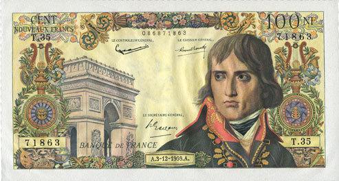 3.12.1959 BANKNOTEN DER BANQUE DE FRANCE Banque de France. Billet. 100 NF, Bonaparte, 3.12.1959 Deux épinglages, vz+