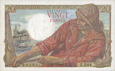 9.2.1950 BANKNOTEN DER BANQUE DE FRANCE Banque de France. Billet. 20 francs pêcheur, 9.2.1950 Un épinglage, vz+