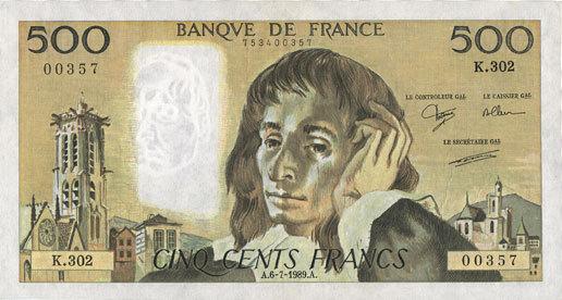 6.7.1989 BANKNOTEN DER BANQUE DE FRANCE Banque de France. Billet. 500 francs (Pascal) 6.7.1989 vz