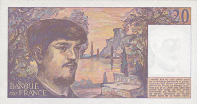 1987 BANKNOTEN DER BANQUE DE FRANCE Banque de France. Billet. 20 francs, Debussy, 1987 I