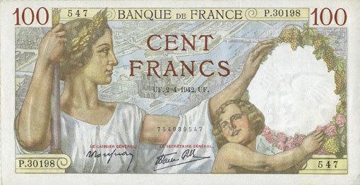 2.4.1942 BANKNOTEN DER BANQUE DE FRANCE Banque de France. Billet. 100 francs Sully, 2.4.1942 vz+