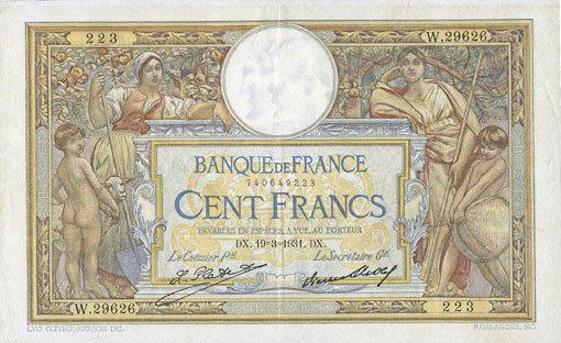 19.3.1931 BANKNOTEN DER BANQUE DE FRANCE Banque de France. Billet. 100 francs Merson 19.3.1931, grands cartouches vz
