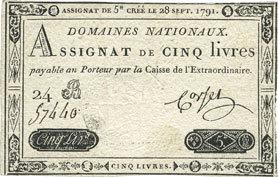 28 septembre 1791 ASSIGNATEN Assignat. 5 livres. 28 septembre 1791. Signature : Corsel ss+