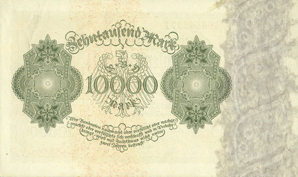 19.1.1922 DEUTSCHLAND Allemagne. Billet. 10 000 mark 19.1.1922, série H ss+