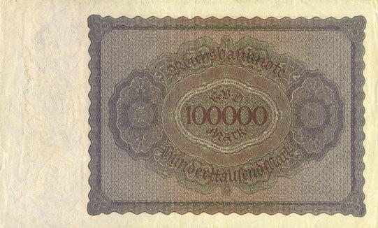 1.2.1923 DEUTSCHLAND Allemagne. Billet. 100 000 mark 1.2.1923. Série Q ss-vz