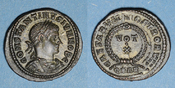 317-337 n.  RÖMISCHE KAISERZEIT Constantin II, césar (317-337). Follis. Arles, 4e officine, 322-322. R/: VOT / X Qualité remarquable ! Non circulé