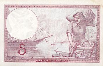 13.7.1939 BANKNOTEN DER BANQUE DE FRANCE Banque de France. Billet. 5 francs violet, 13.7.1939, modifié ss-vz