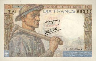 13.1.1944 BANKNOTEN DER BANQUE DE FRANCE Banque de France. Billet. 10 francs mineur, 13.1.1944 vz+