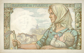 20.1.1944 BANKNOTEN DER BANQUE DE FRANCE Banque de France. Billet. 10 francs mineur, 20.1.1944 ss-vz