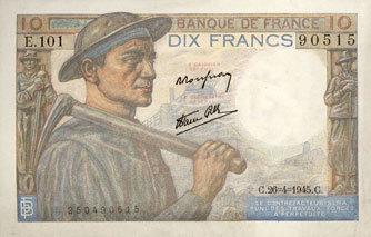26.4.1945 BANKNOTEN DER BANQUE DE FRANCE Banque de France. Billet. 10 francs mineur, 26.4.1945 ss+