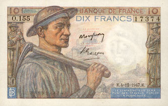 4.12.1947 BANKNOTEN DER BANQUE DE FRANCE Banque de France. Billet. 10 francs mineur, 4.12.1947 vz
