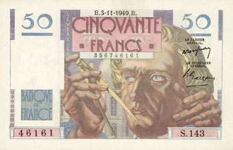 3.11.1949 BANKNOTEN DER BANQUE DE FRANCE Banque de France. Billet. 50 francs Le Verrier, 3.11.1949 vz