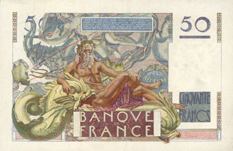 29.6.1950 BANKNOTEN DER BANQUE DE FRANCE Banque de France. Billet. 50 francs Le Verrier, 29.6.1950 ss+