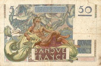 7.6.1951 BANKNOTEN DER BANQUE DE FRANCE Banque de France. Billet. 50 francs Le Verrier, 7.6.1951 s