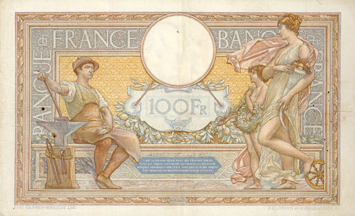 1937-10-21 BANKNOTEN DER BANQUE DE FRANCE Banque de France. Billet. 100 francs Merson 21.10.1937, modifié ss+ / ss