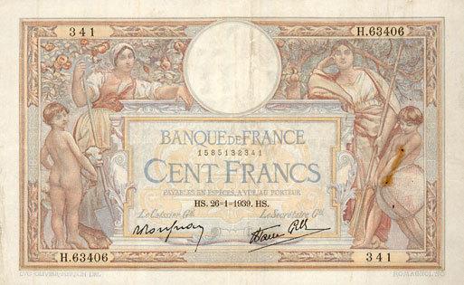26.1.1939 BANKNOTEN DER BANQUE DE FRANCE Banque de France. Billet. 100 francs Merson 26.1.1939, modifié ss