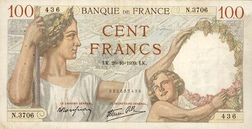 1939-10-26 BANKNOTEN DER BANQUE DE FRANCE Banque de France. Billet. 100 francs Sully, 26.10.1939 s-ss