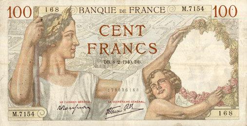 8.2.1940 BANKNOTEN DER BANQUE DE FRANCE Banque de France. Billet. 100 francs Sully, 8.2.1940 s+